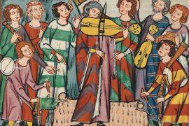Músics medievals amb diferents instruments