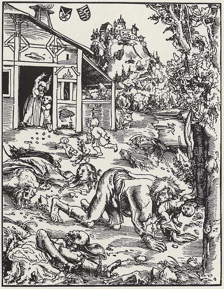 L'home llop. Gravat de Lucas Cranach el Vell. Vers el 1512
