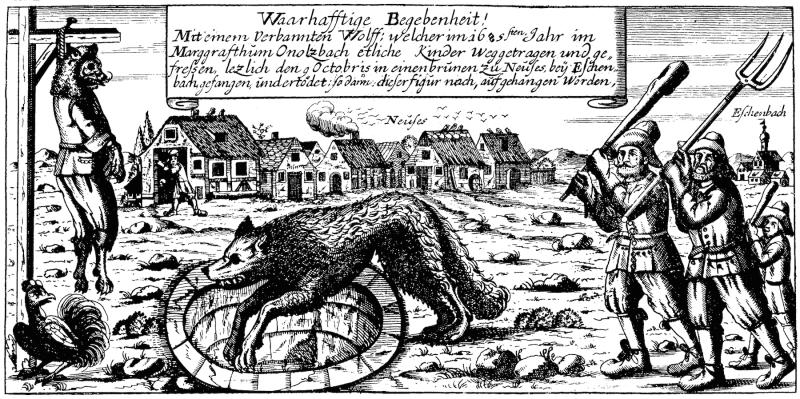 Gravat alemany de la caçera i execució de l'Home llop d'Ansbach. 1685