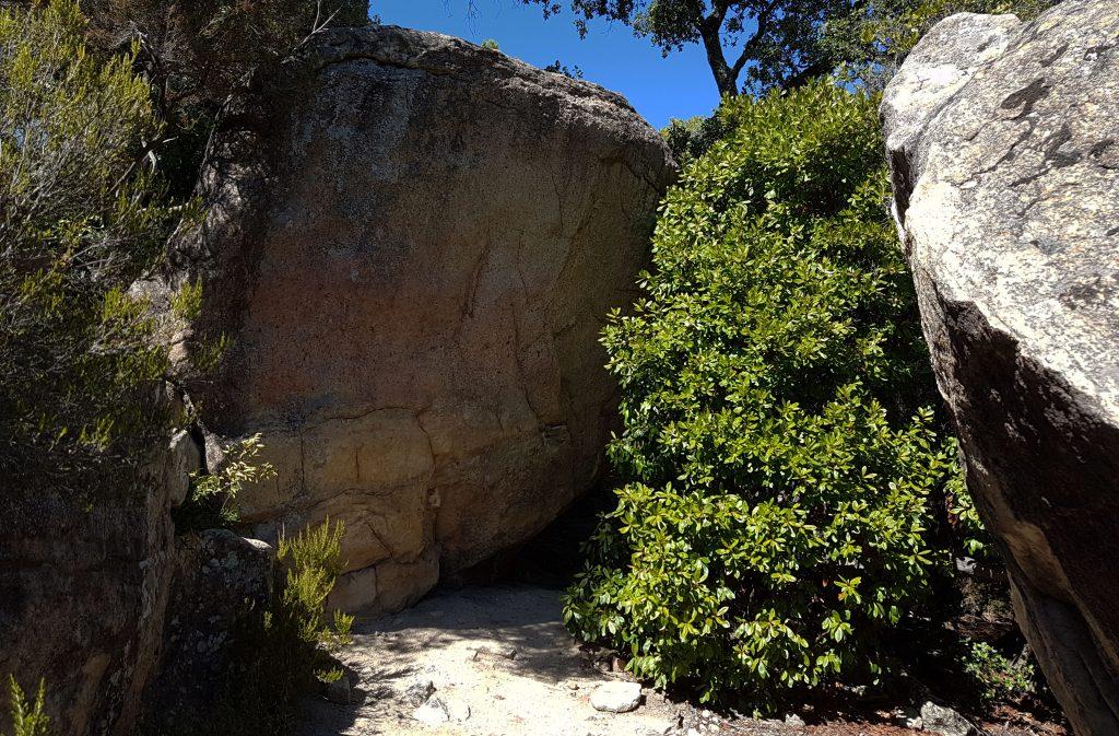 Passadís entre les roques i la fressa