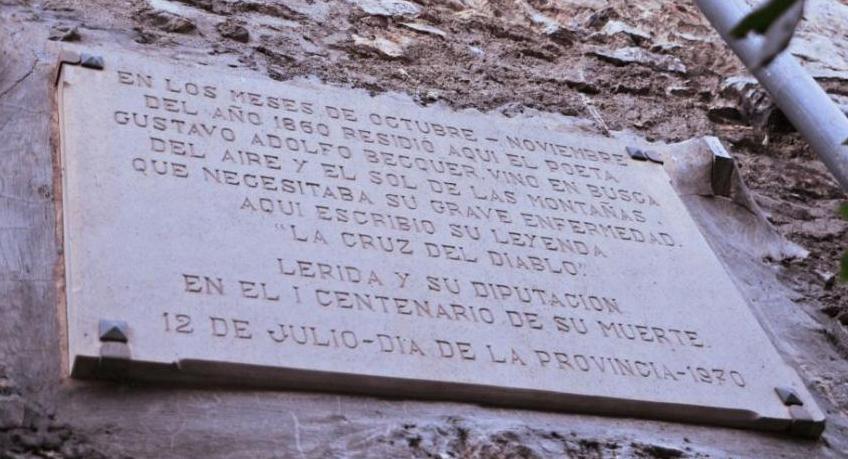 Placa a Cal Patanò, lloc d'estança de Bécquer