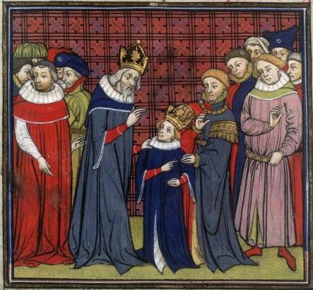 """Lluís el Pietós, """"Ludovicus Pius"""", és coronat pel seu pare, l'Emperador Carlemagne"""