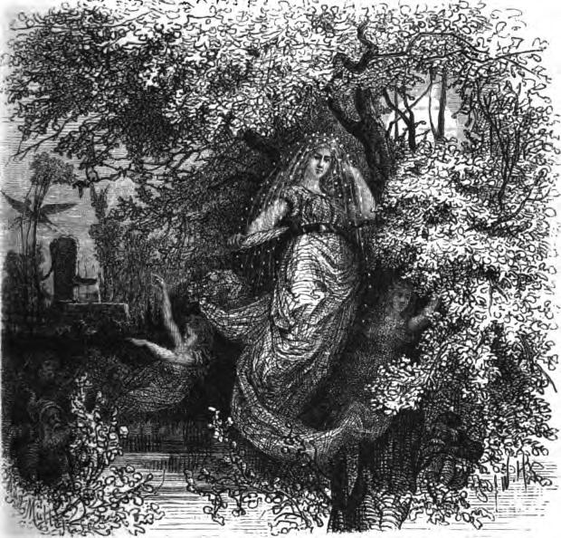 """""""Holda, the gütige Beschüzerin"""", de F. W. Heine. Holda, que Carlo Ginzburg relacionà amb Herodies, Diana, Signora Oriente, Richella o Aradia, és una de les deesses germàniques principals d'aquest temps """"entre mons""""."""