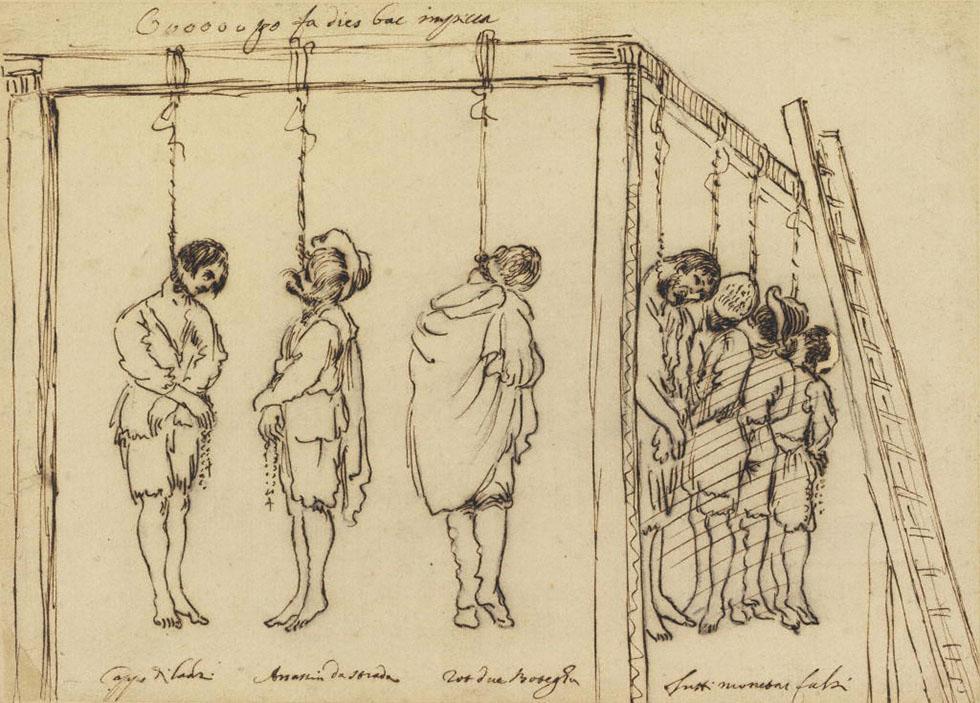 Set homes al patíbul, esbós de l'escola bolonyesa, 1630