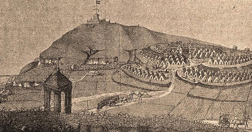 """Creu Coberta amb Montjuïc al fons, on acampà l'exèrcit de """"la Constitución"""", el 1821. Obra de Louis Vuillaume"""