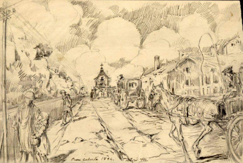 La Creu Coberta i les barraques de Valldonzella, el 1894, obra de Pau Fabrés Yll