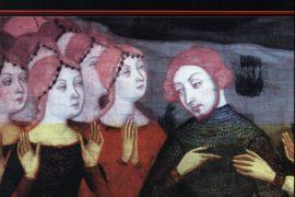 Llegendes històriques catalanes, d'en Martí de Riquer. A la portada, Retaule de Sant Esteve, del mestre Jaume Serra. Cap a 1385. La representació més antiga, i una de les poques que ha sobreviscut, del rescat de Galceran de Pinós i les cent donzelles