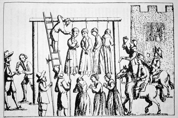 Bruixes essent penjades públicament. Obra de Gerald Gardimer, 1655