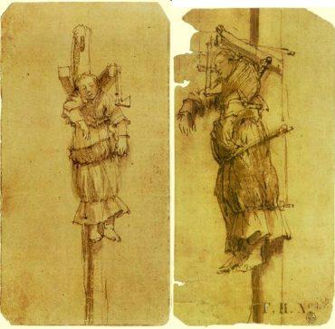 Esbossos que va realitzar Rembrandt el 1664, de l'execució per forca de l'assassina Elsje Christiaens