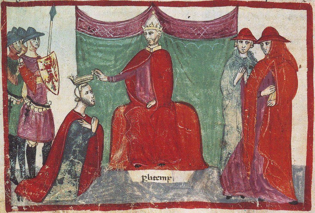 Robert Guiscard és declarat duc pel papa Nicolau II. Interpretació del segle XIV