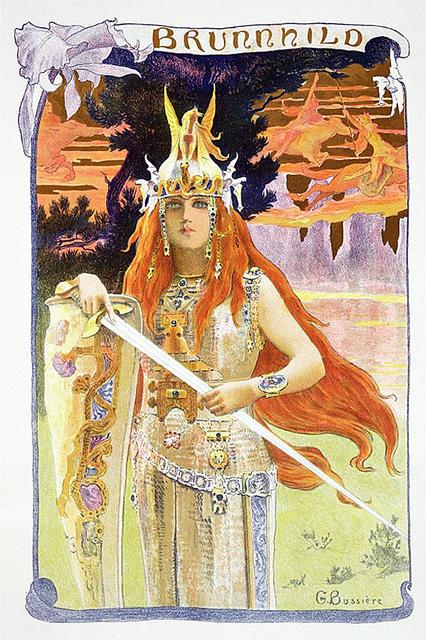 Brynhild (1897), interpretació romàntica de Gaston Bussière de la valquíria i donzella guerrera del foc