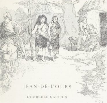 """Il·lustració d'Édouard François Zier, pel llibre d' Henry Carnoy, el 1885, """"Jean-de-l'Ours: l'Hercule gaulois"""", a Les légendes de France"""