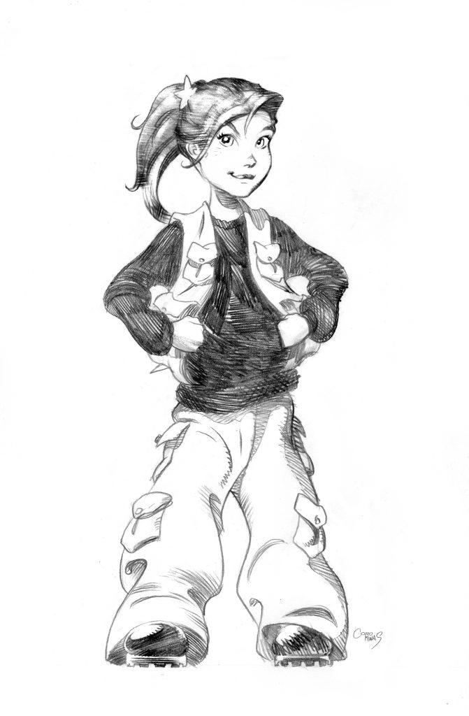 Ishtar, la protagonista de la primera tetralogia de llibres. Dibuix d'Enrique Corominas