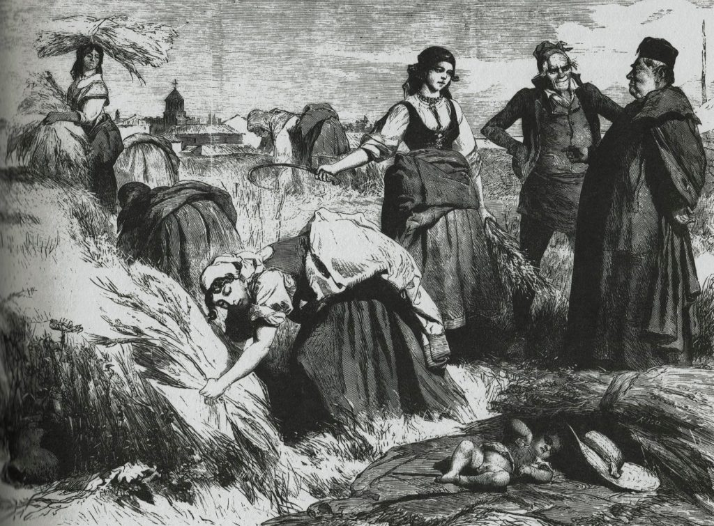 Les feines del camp a la plana. Valeriano Domínguez Bécquer. Segle XIX
